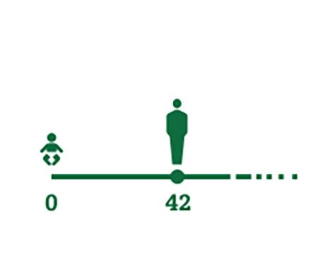 Icona linea temporale che rappresenta le persone di età media che iniziano ad avvertire i sintomi della presbiopia (42 anni)