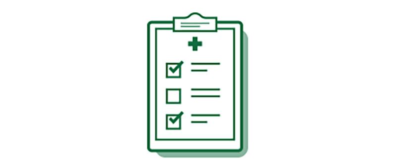 Icona lista di controllo medica sulle opzioni dell'intervento di cataratta